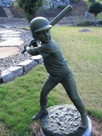 "BRONZE BOY BASE BALL PLAYER SIGNED. JIM DAVIDSON ( THE BATTER)  42"" TALL. WITH A BEAUTIFUL PATINA"