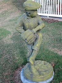 "BRONZE SCULPTURE OF BOY BASEBALL PLAYER, SIGNED JIM DAVIDSON.  40"" TALL. WITH A BEAUTIFUL PATINA"