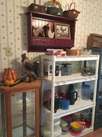 little bit country - little bit more too !!   americana and wood decor -roosters- baskets,storage, glass items   soldi oak small cabinets - have 2 of these that match