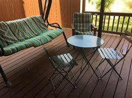 sturdy swing and nice small  patio set