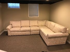 "Ethan Allen 3 piece sectional   Stain resistant fabric  Brand new condition  Dimensions  123""w x 96""w x 32""d x 30"" h"