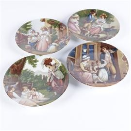 "Limoges ""Romance"" Plate Collection: A set of Limoges Romance plates. The four collectible plates feature romanticized depictions of 18th century rural and domestic life. Each plate is marked underneath with a light blue stamp ""Limoges France"" and in cursive ""Romance – Limoges – France""."