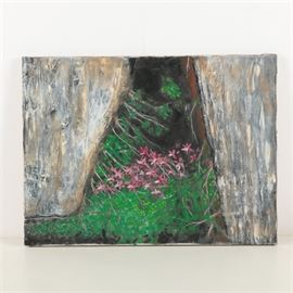 Oil Painting on Canvas of Flowering Plants and Rocks: An oil painting on canvas. This piece depicts flowering plants growing in a rocky crevice, with rich texture and earth tones. It is presented unsigned and unframed, without hanging hardware.