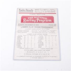 "1984 ""The National Racing Program"" Radio Results Booklet: A 1948 The National Racing Program radio results booklet. This program includes jockey scores and is marked to the verso with ""Leading Tipsters Selections"". A date to the top reads ""Sunday, December 19, 1948"" and is priced as fifty-cents. The program is presented in a plastic protective sleeve."