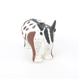 "Ceramic Cow Figurine by MMA-BMA Pottery: A ceramic cow figurine by MMA-BMA pottery. This item depicts a steer in the style of Zuni pottery. It is marked ""©MMA-BMA"" to the side."