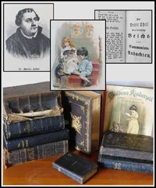 "Group of antiquarian German books dated 1857-1862 - 1910 - 1917.  Includes ""Goldene Kinderzeit"" (which means Golden Children's Time"") picture book with beautiful illustrations ready for framing."