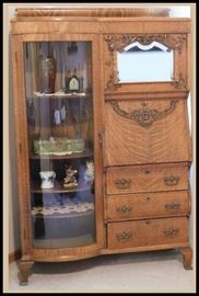 Oak mirrored secretary 42 inches wide 65 inches tall 16 inches deep