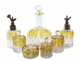 Amber Glass Overlay Set of Bottles