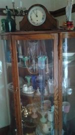 Curio Cabinet, mantle clock, lovely glass and china