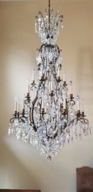 "Chandelier, Original invoice $28,400.00, by Schonbek, Inc. Renaissance Collection 36""width x 72""height , Heirloom Bronze, Swarovski Crystal, weight 124 pounds, OFFERS ACCEPTED"