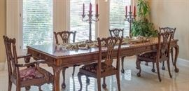 Queen Ann Mahogany formal dining room table for 8, linen table cloths, formal dinnerware
