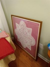 This BIG doily is framed beautifully and it is REALLY big!!