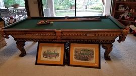 """Vintage Pool Table by Olhausen ... refurbished in 2004 with """"Accufast Bumpers"""" and new cloth & Billiards Art"""
