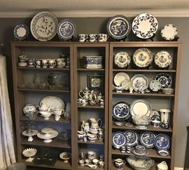 Willow ware and serving pieces