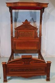 090a Eastlake walnut half tester bed, full size, mirror needs repair, 8 ft. 10 in. T, 72 in. L, 58.5 in. W.