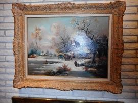 Vintage Ornate Frame, Original Oil Painting. Signed. Spanish Artist