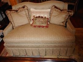 Custom Made Silk Brocade Love Seat, Champagne (2) with Decorative Pillows