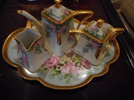 Vintage Hand Painted Bavaria Tea Pot, Cream/Sugar Tray