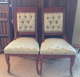 Pair of antique side chairs - cherry wood, front legs have wheels - beautiful upholstery - 1940's