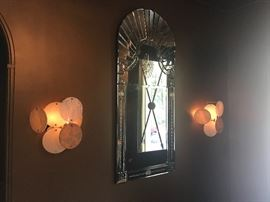 Pair of Rui Sconces from Fortuny. Art Deco style Venetian mirror through John Rosselli.