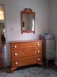 Vintage Maple Dresser with Mirror