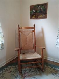 Oak and Wicker Rocking Chair. Very Old.