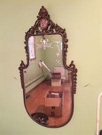 Beautiful Antique Victorian mirror with etched design!  Circa 1920's.  In great shape!