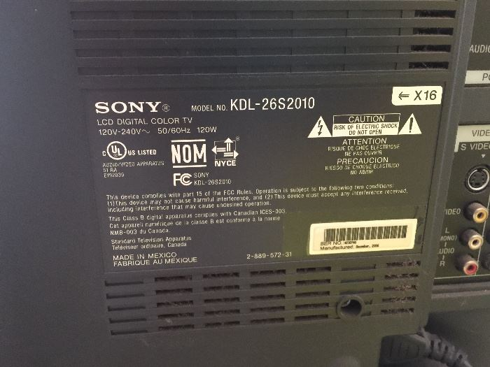 """Sony 26"""" flat screen.  Great for kitchen or smaller space"""