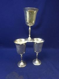 (3) Vintage Leonard Goblets Silverplate