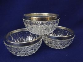3 Silver rimmed condiment dishes