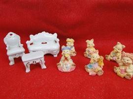 (6) Baby Pig Ceramic Figurines & Furniture