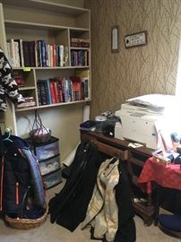 Nautica coats/jackets, miscellaneous coats and jackets, books, wooden desk, copier, office supplies