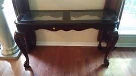 Sofa table with two glass inserts