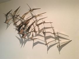 Curtis Jere Mid Century modern bras wall art sculpture Birds in Flight late 1960's