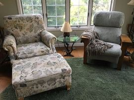 Ethan Allen chair &  ottoman  next to Stickley chair