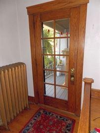 Vintage Oak French Entry Door