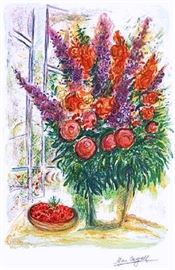 Chagall Bouquest with Bowl of Cherries