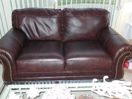 Like New Leather couch w/ 2 matching recliners