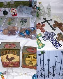 Vintage milk bottles, cross collection, tins, metal candle holder