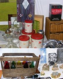 Oil lamps, Kuehmann's 4pc potato chip tins, stained glass panels, Vintage French wine bottle box, and more