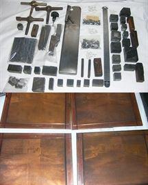 Antique printing tools, plates, and blocks
