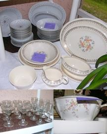 Nikki China, Edwin M. Knowles China, stemware, and a Limoges Soup Tourine