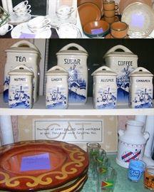 Sanyo Yellow Chintz China, Portugal stoneware, Casa Cristina stoneware, Czechestovakia canister set