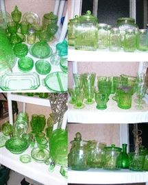 Beautiful collection of Vaseline depression glass