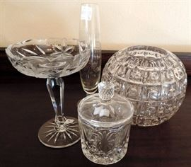 Crystal Vases and Biscuit Jar