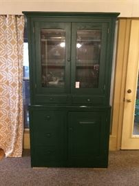 Oak China Cabinet painted green