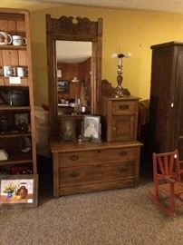Antique Oak Dresser w/ Hat Box and Dressing Mirror