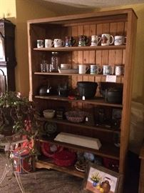 Antique Oak Book Shelf, Cast Iron, Enamelware
