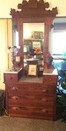 Over 7' Tall Eastlake Marble Top Dresser