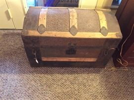 Antique Round Top Steamer Trunk